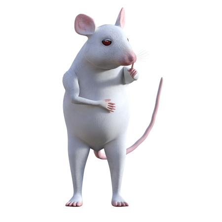 Cute cartoon house mouse isolated on white, 3d render Standard-Bild - 98683908
