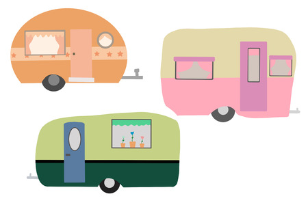 Set of Vintage Campers  Caravans Isolated on white, Hand Drawn Illustrations.