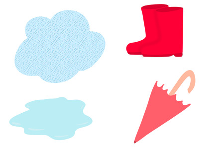 Red gumboots, closed umbrella, cloud, and puddle isolated on white, hand drawn illustration.