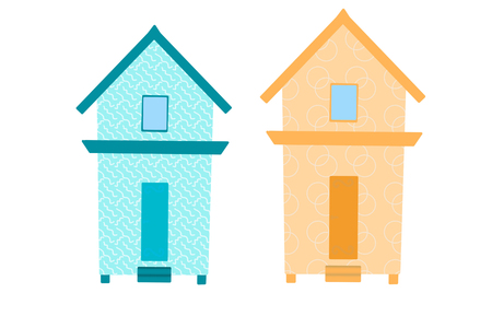 Pair of beach huts isolated on white, hand drawn illustration.