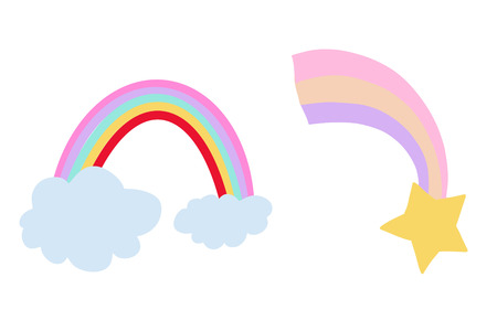 Rainbow with clouds and a rainbow star, hand drawn illustration.