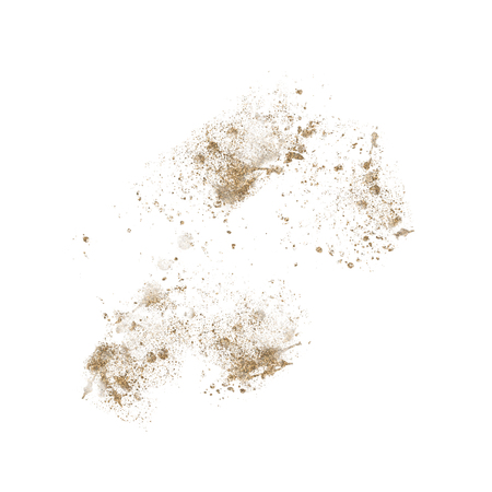Gold Metallic paint splatter isolated on white, illustration.