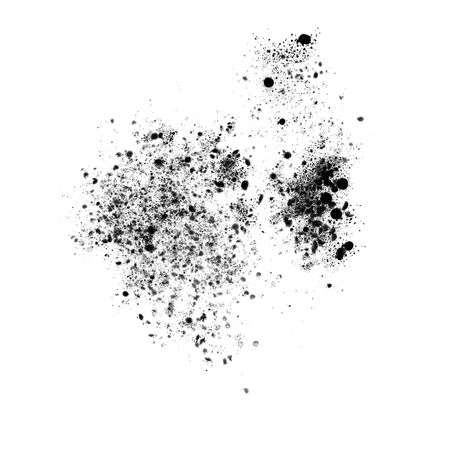 Black ink spatter isolated on white, illustration.