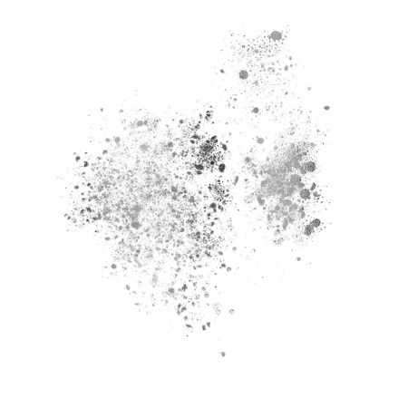 Silver spatter mess isolated on white, Illustration.