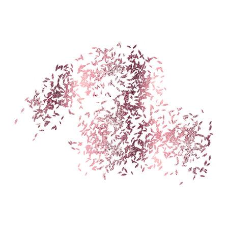 Metallic pink foil splatter isolated on white, Illustration. Stock Photo