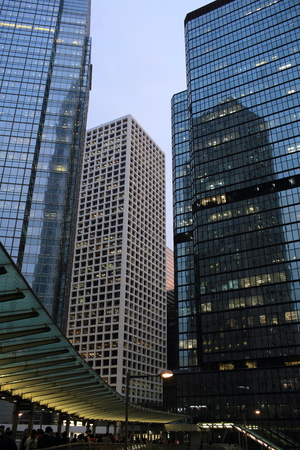 offices and glass buildings in the city of life, low angle view in Hong Kong Central financial zone  photo