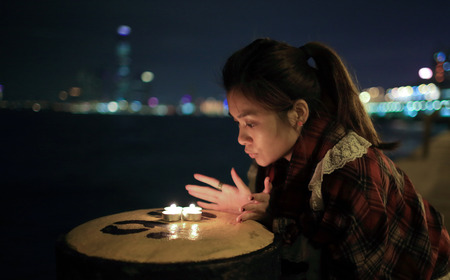 wish: Girl making a wish