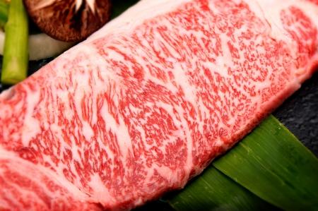 Close up marbled on fresh Kobe Miyazaki beef photo