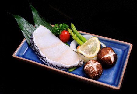 sable: Japanese style Steak sable fish set teppanyaki raw Stock Photo