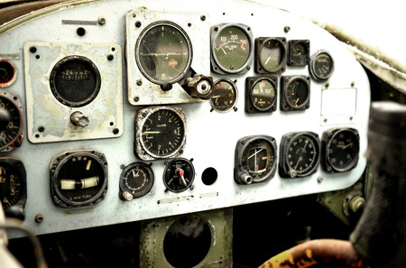 avionics: Old cockpit is in the war plane in thailand