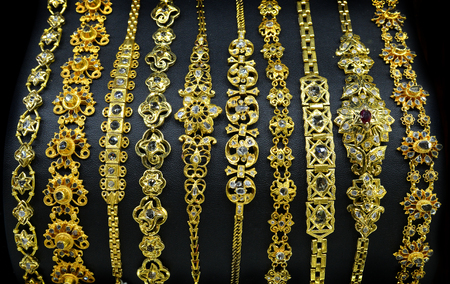 dimond: gold jewellery shop show many design of gold and dimond Stock Photo