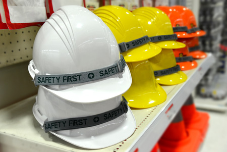 construction equipment: safety helmet for sale at the store Stock Photo
