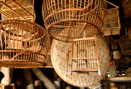osier: basketwork from bamboo in thailand natural handmade