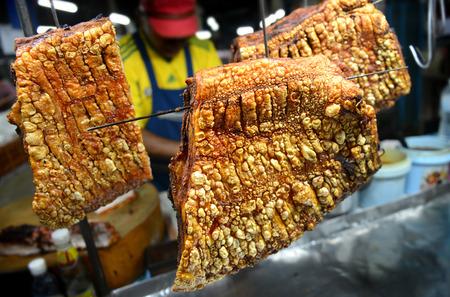 night market: street delicious crispy pork in night market