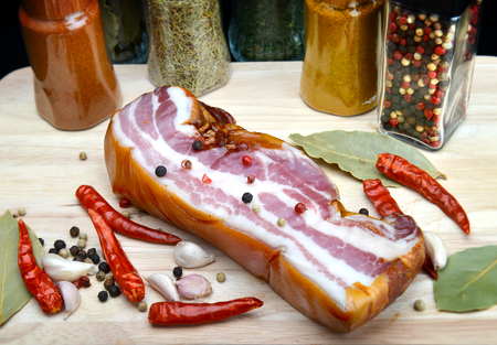 spicy cooking: smoked bacon spicy cooking style in the kitchen