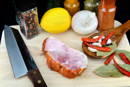 spicy cooking: smoked ham spicy cooking style in the kitchen Stock Photo