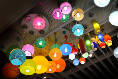 colorful lantern: roof colorful lantern for sale at supermarket Stock Photo