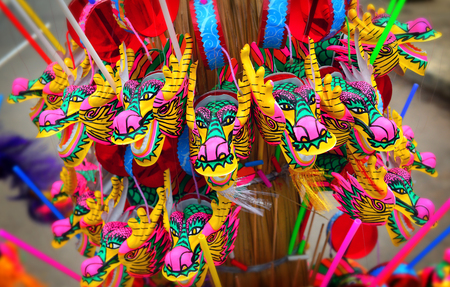 goodluck: colorful dragon plastic toy for chinese newyear happy and goodluck Stock Photo