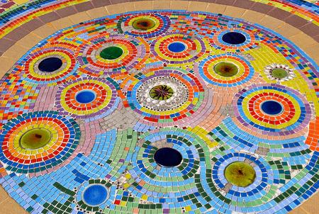 mosaic floor: decoration patterns of colors ceramic mosaic floor Stock Photo