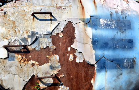 dozer: the path of old crawler dozer object very grunge peeling out of colour like abstract art