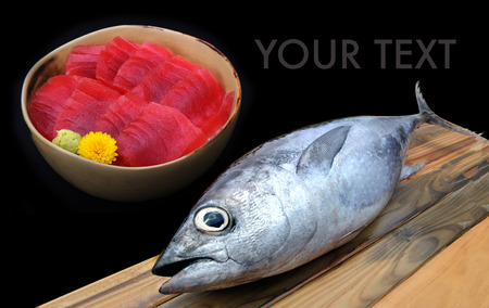 atun rojo: bluefin tuna from market on wooden photo in sunlight mixed sashimi tuna sushi rice cup