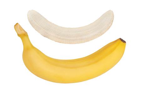 Ripe banana. Peeled banana isolated on white background.