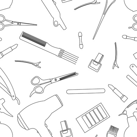 hairdressing: Hairdressing tools related seamless pattern background.