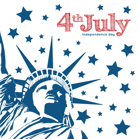 american history: Statue of Liberty symbol of Freedom and Democracy. Independence day. 4th of July.