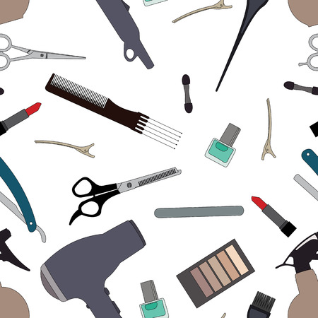 haircutting: Hairdressing tools related seamless pattern background.