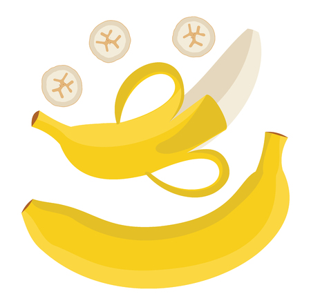 Set bananas. Single banana. Peeled banana and sliced banana. Vector illustration. Ilustrace