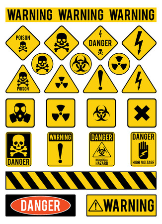 signos de precaucion: Conjunto de señales de advertencia sobre los peligros. Peligro. Venenos. El calentamiento. Ilustración del vector.