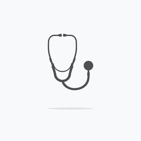 phonendoscope: Medical stethoscope or phonendoscope icon. Vector illustration.