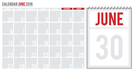 planning calendar: Calendar June 2016. June 2016 planning calendar. Vector illustration. Illustration