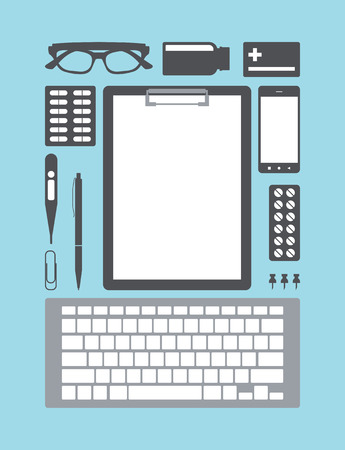 medical supplies: Medical doctor supplies. Desktop Icons medical supplies. Vector illustration.