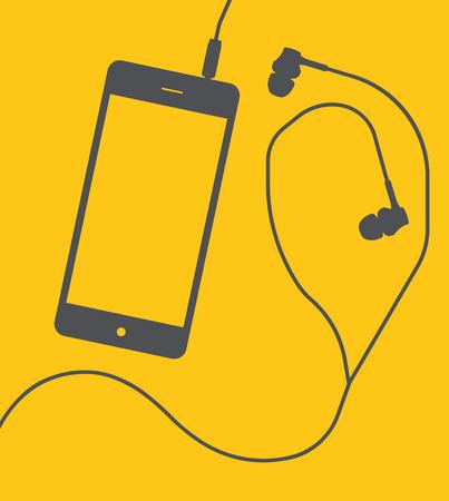smart: Smartphone with earphones on yellow background. Vector illustration. Illustration