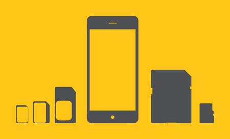 smart card: Phone icon from the memory card and SIM cards of different types. Vector illustration. Illustration
