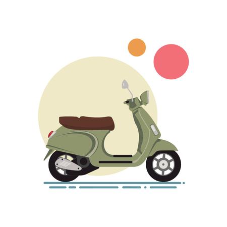 Illustrazione vettoriale di un design piatto dello scooter. Scooter classico su uno sfondo di cerchi colorati. Archivio Fotografico - 60338691