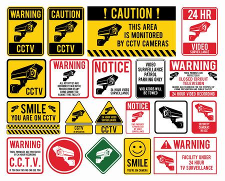 """signes de surveillance vidéo. CCTV Signs """"Closed Circuit Television"""". Vector illustration."""