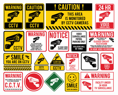 Video surveillance signs. CCTV Closed Circuit Television Signs. Vector illustration.