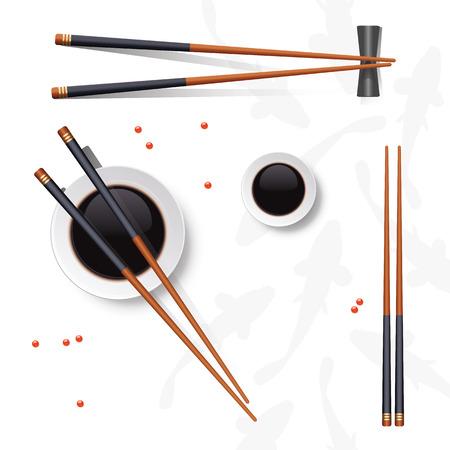 Sushi instellen. Eetstokjes en sojasaus op wit worden geïsoleerd dat. Vector illustratie. Vector Illustratie