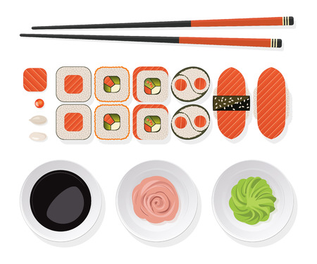 Sushi set. Top view of classic sushi set rolls with salmon, chopsticks and  wasabi, ginger, soy sauce on a white plate. Vector illustration.