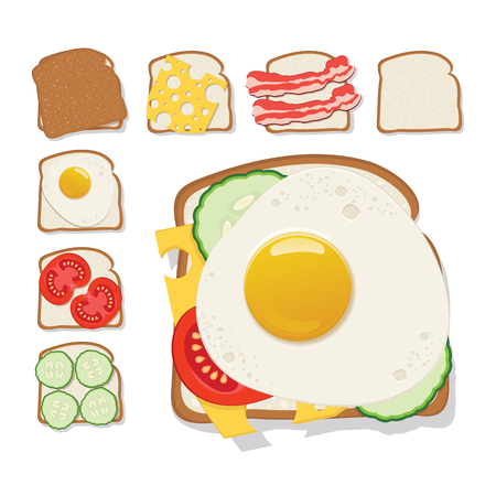 Toasts icon. Set of toast with cheese, cucumber, bacon, tomato and a fried egg. Flat design. Vector illustration. Illustration