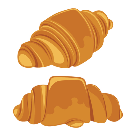 buttery: Set of croissants isolated on a white background. Vector illustration