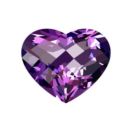 amethyst: Realistic purple amethyst heart-shaped. Gem. Vector illustration.