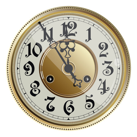 Antique old clock face. Vector illustration.