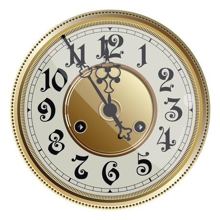 Stare antyczne starego zegara. Ilustracji wektorowych.