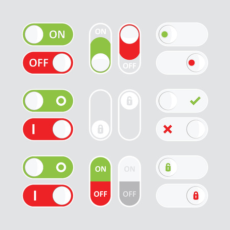 Set of colorful toggle switch icons. Flat icon. Switch buttons. On and Off position. Vector user interface set including switches.