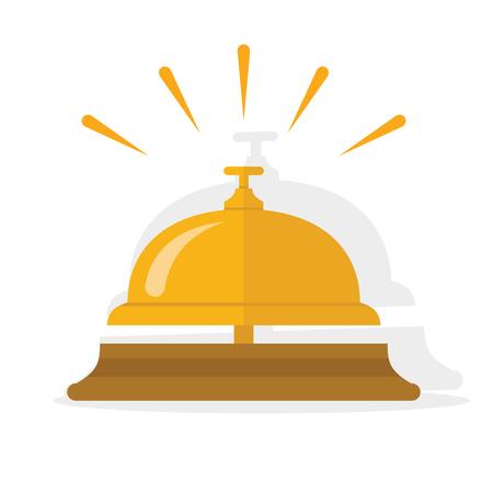 Cloche d'hôtel, cloche de service, icône de cloche de réception. Illustration vectorielle plane