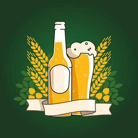 Wheat beer. Beer bottle and glass with beer and ribbon. Ears of wheat and hops. Vector illustration for web, poster, invitation to party. On a green background.