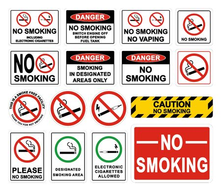 No Smoking Warning Signs. Smoking prohibited symbol isolated on white background. Vector illustration. Banque d'images - 138112964